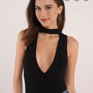 Misguided Black Choker Deep V Neck Bodysuit